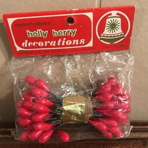 Other - Vintage Christmas Holly Berry Decoration Commodore